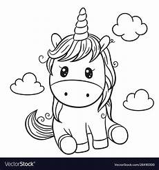 unicorn outlined for coloring book vector image