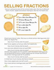 fraction stories worksheets 4109 fraction word problems pie time worksheet education