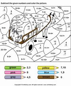 color by subtracting numbers worksheet turtle diary