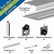 kit rail porte placard coulissante kit ares3 aluminium anodis 233 naturel pour 2 portes de