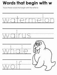 pre k worksheets letter w 24429 standard block printing tracers beginning consonant sounds