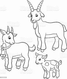 Malvorlagen Tiere Bauernhof Coloring Pages Farm Animals Goat Family Stock Illustration