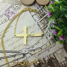 Engraved Gold Cross Name Necklace 1 6 Quot