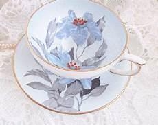 vintage teacup handpainted blue and grey floral teacup