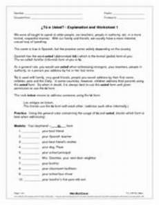 tu o usted explanation and worksheet 1 8th 9th grade worksheet lesson planet
