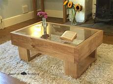 durdle solid oak coffee table with glass top chunky
