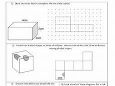 nets 3d shapes represented by 2d shapes geometry ks2 year 5 6 worksheet only by