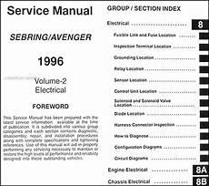 car repair manuals online free 1996 chrysler sebring lane departure warning 1996 chrysler sebring dodge avenger repair shop manual original 2 volume set