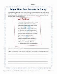 printable poetry worksheets for middle school 25329 edgar allan poe reading worksheet secrets in poetry