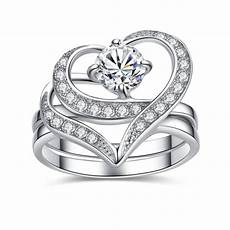 stainless steel cubic zirconia cut heart shape wedding rings for engagement bridal