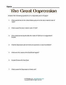 the great depression worksheet for 6th 8th grade lesson planet