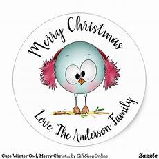 cute winter owl merry christmas personalized classic sticker zazzle com christmas