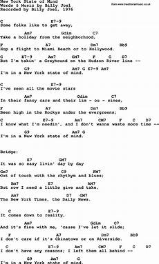 song lyrics with guitar chords for new york state of mind