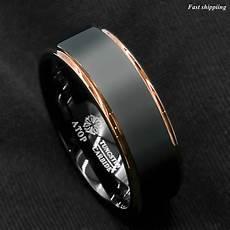 tungsten carbide ring rose gold black brushed wedding band ring men s jewelry ebay