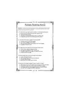 multiple meaning words worksheets teaching resources