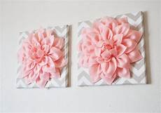 two wall flowers light pink dahlia taupe and white chevron