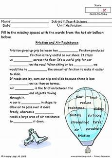science worksheets year 4 12476 science friction and air resistance worksheet primaryleap co uk