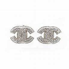 boucles d oreilles chanel z2371 logo cc strass