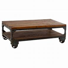 Iron Wood Coffee Table On Wheels From Wrightwood Furniture