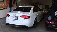 audi b8 s4 awe touring exhaust non resonated downpipes youtube