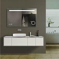 Miroir Lumineux Avec Affiche Horloge Design Rectangulaire