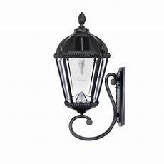 gama sonic royal bulb solar l series 1 light black cast aluminum solar led outdoor wall