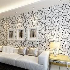 black white geometric pattern non woven wallpaper modern