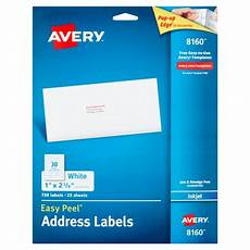 avery 8160 easy peel white inkjet address labels 750 count walmart com