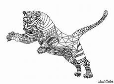 Ausmalbilder Erwachsene Leopard Tiger With Geometric Patterns Tigers Coloring Pages