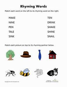 rhyming words for kids worksheet education com
