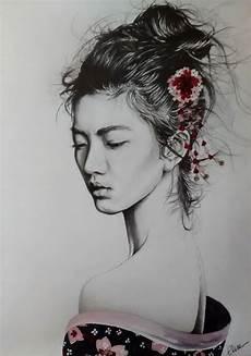 Dessin Portrait D Une Femme Asiatique En Geisha
