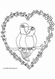 ausmalbild verliebte papageien im herz mit blumen
