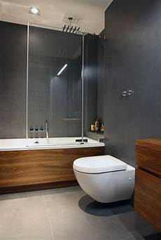 Bathroom Grey With Wooden Bath You Already The