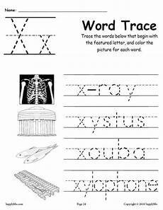 letter x traceable worksheets 24337 letter x words alphabet tracing worksheet supplyme