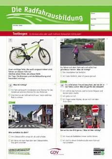 fahrradprüfung 4 klasse fragebogen medien zur radfahrausbildung vms verkehrswacht medien