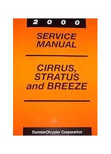 service and repair manuals 1997 chrysler cirrus instrument cluster 2000 chrysler cirrus dodge stratus plymouth breeze factory service manual