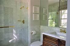 badezimmer halb gefliest honey stained washstand with blue hexagon floor tiles