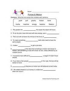 science worksheets about motion forces motion worksheet science worksheets 6th grade worksheets force motion