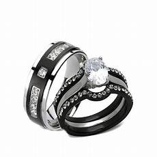 his hers 4 piece black stainless steel titanium matching wedding band engagement ring set