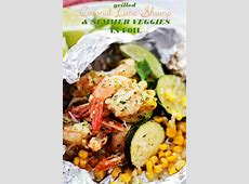 Grilled Coconut Lime Shrimp and Summer Veggies in Foil