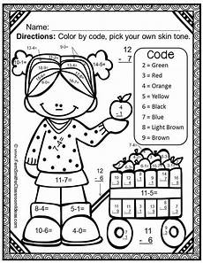 free subtraction color by number worksheets 16323 fall color by number subtraction addition subtraction color coding for