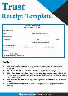 trust receipt form trust receipt template premium printable templates