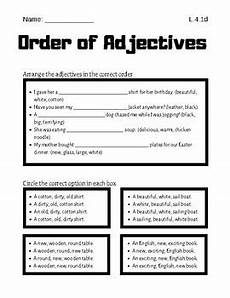 sentence patterns worksheets with answer key pdf 282 order of adjectives worksheet by baileykeller tpt