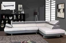 Contemporary Gray And White Sectional Sofa With Matching