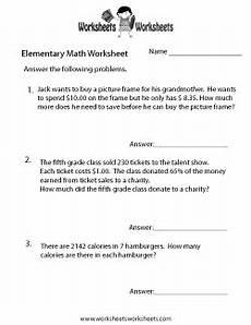 elementary math word problems worksheet elementary math