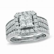 1 1 2 ct t w princess cut diamond bridal in 14k white gold engagement rings