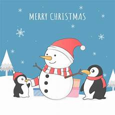 cute penguin and snowman merry christmas premium vector