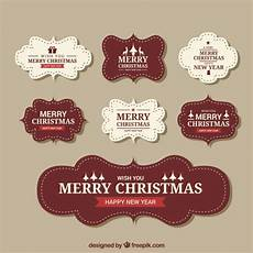 merry christmas vintage stickers free vector