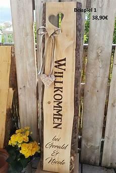 Holzaufsteller Willkommen Holzbalken Familienschild