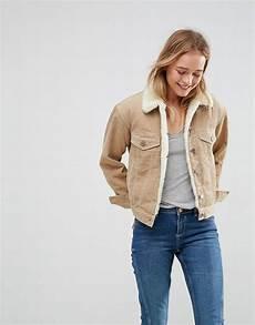 veste en jean mouton femme asos cord jacket with fleece collar in